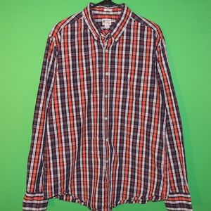 J.CREW Mens Size L Tailored Fit Plaid Button Shirt
